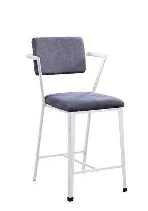 BM204483 Industrial Style Metal Counter Height Chair  Set of 2  White and