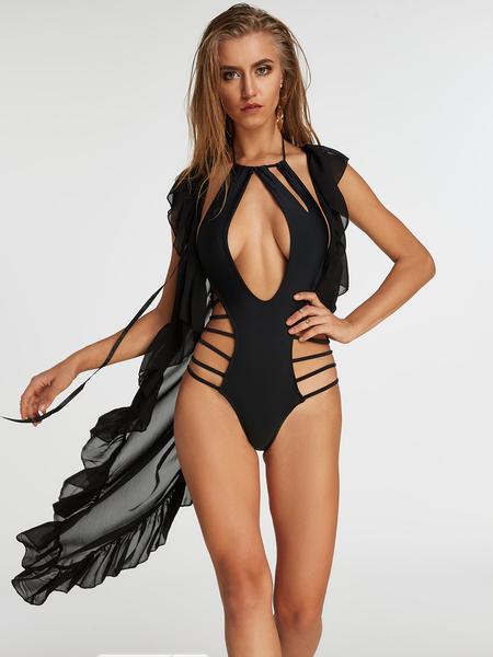 Yoins Black Sleeveless Tie-up Design Semi Sheer Ruffle Cover Up