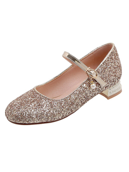 Milanoo Silver Low Heel Prom Shoes Glitter Block Heel Mary Jane Pumps