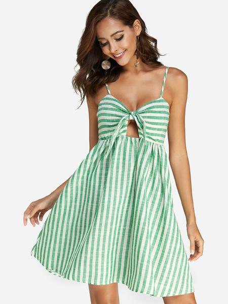 Yoins Green Backless Design Stripe V-neck Sleeveless Dress