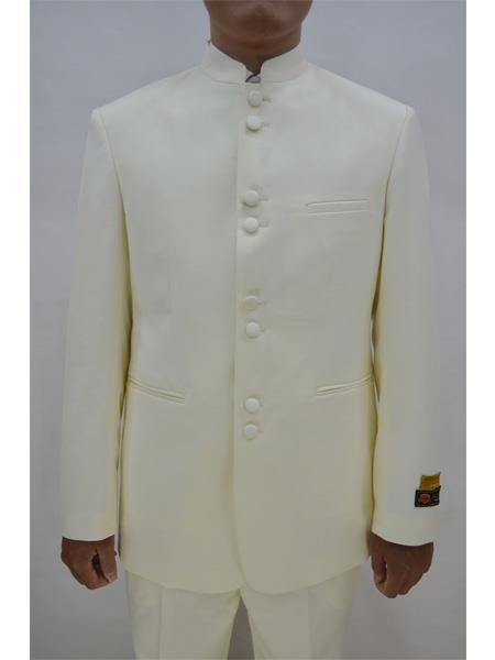 Mens Eight Button Mandarin Banded Collar Ivory Suits