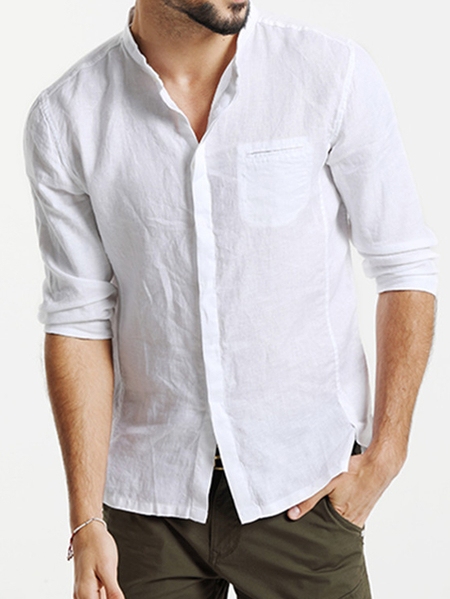 Yoins Men Plain Stand Collar Cotton Casual Shirt