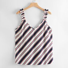 Plus Striped Print Lettuce Strap Top