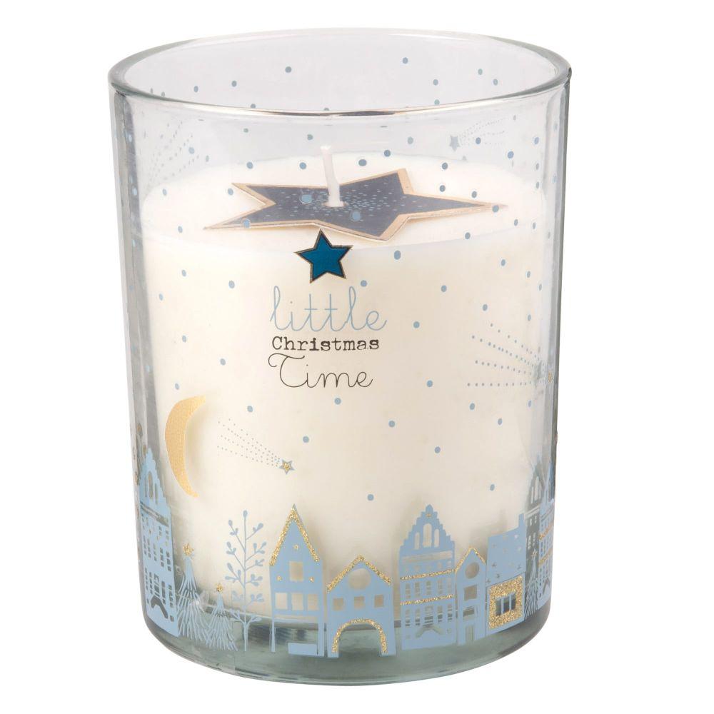 Weihnachtsduftkerze im Glasbehaelter mit Sternen bedruckt