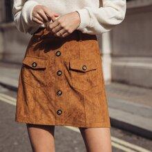 Button Detail Flap Pocket Skirt