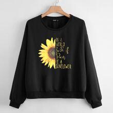 Sweatshirt mit Sonnenblumen & Buchstaben Grafik und sehr tief angesetzter Schulterpartie