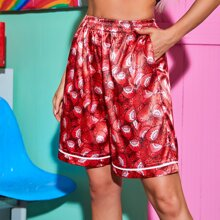 Satin Shorts mit ueberallen Erdbeere Muster