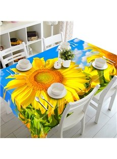 Fresh Polyester Sunflowers Pattern 3D Tablecloth