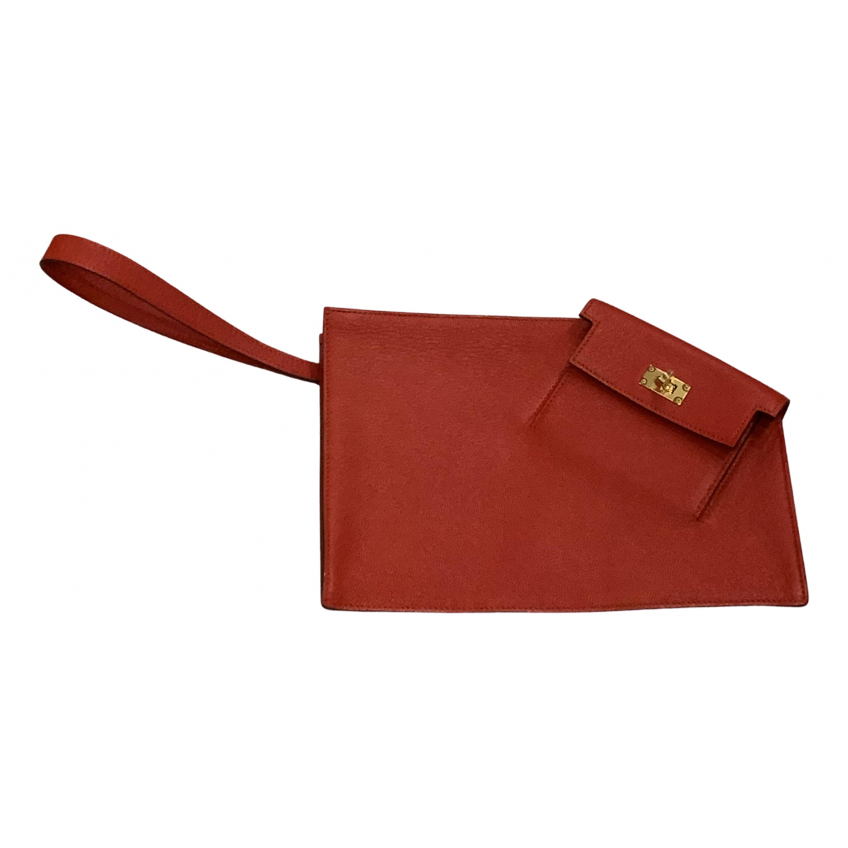Hermes Kelly to go Clutch in  Rot Leder