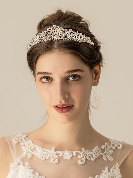 Milanoo Wedding Headpiece Headwear Pearl Metal Hair Accessories For Bride