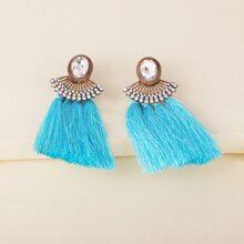 Tassel & Rhinestone Decor Drop Earrings