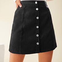 Button Front Solid Mini Skirt