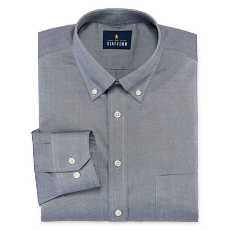 Stafford Executive Non-Iron Cotton Pinpoint Oxford Mens Button Down Collar Long Sleeve Stretch Dress Shirt, 18 36-37, Gray