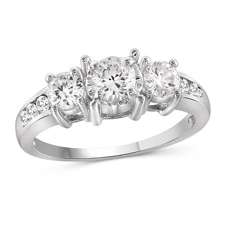 Womens 2 CT. T.W. White Cubic Zirconia Sterling Silver Promise Ring, 6 , No Color Family
