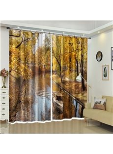 Wood Boat in River Accompanied by Leaves 3D Curtain Blackout