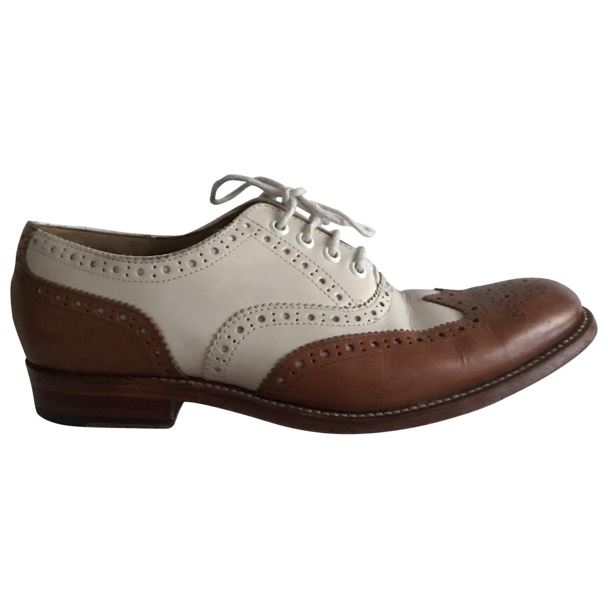 Grenson \N White Leather Flats for Women 5 UK