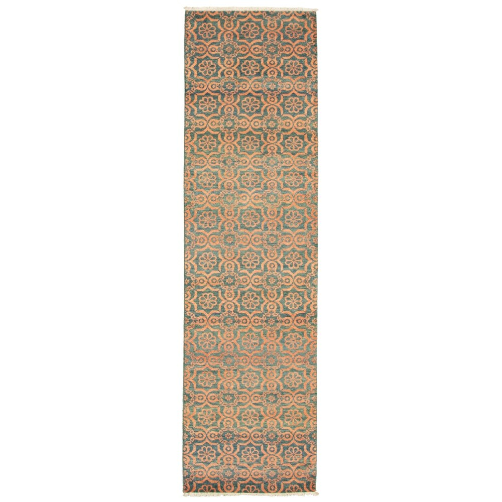 ECARPETGALLERY Hand-knotted Pak Finest Transitional Turquoise Wool Rug - 2'8 x 9'9 (2'8 x 9'9 - Turquoise)