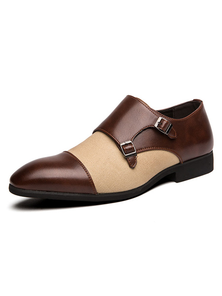 Milanoo Mens Loafer Shoes Comfy Monk Strap Brown PU Leather Buckle Slip-On Dress Shoes Party Shoes
