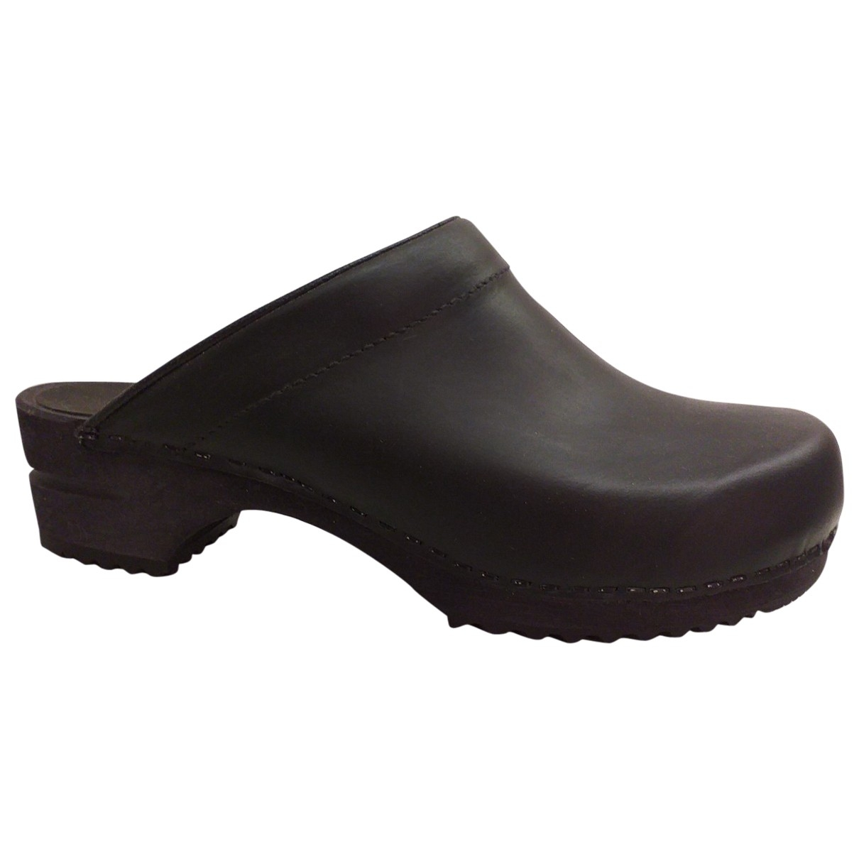 Non Signé / Unsigned \N Black Leather Mules & Clogs for Women 39 EU