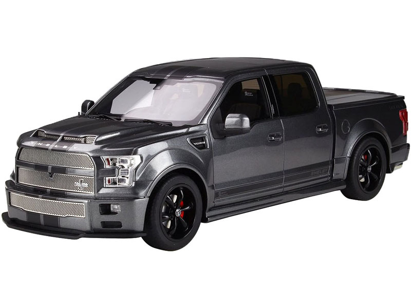2017 Ford Shelby F-150 Super Snake Pickup Truck with Bed Cover Magnetic Metallic Gray with Black Stripes 1/18 Model Car by GT Spirit for ACME