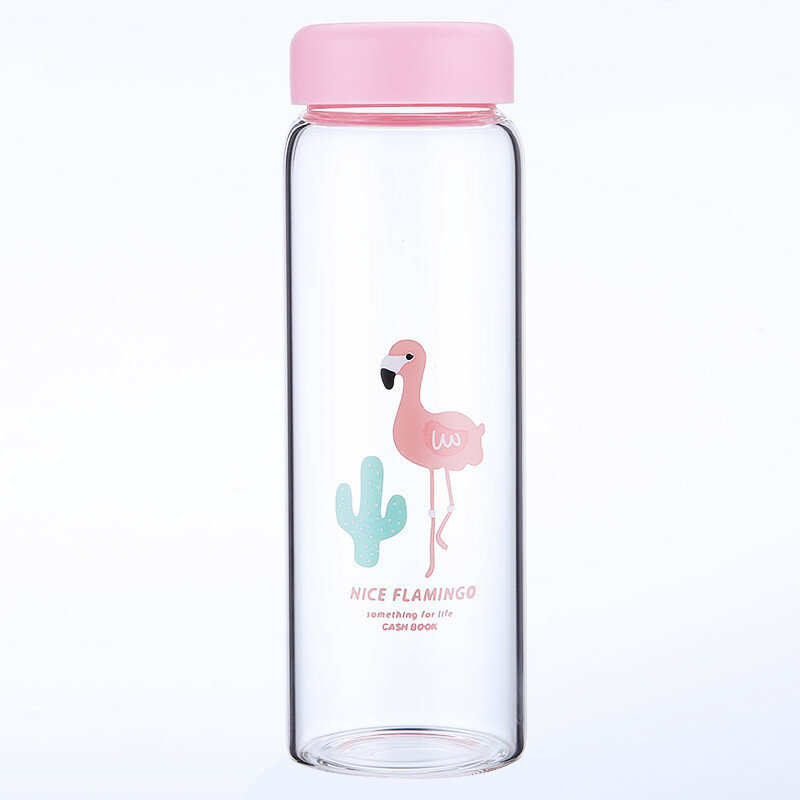 Water Cup Creative Fresh Flamingo Pattern Poratble Glass Bottle With Cover