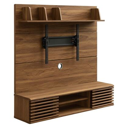 Render Collection EEI-3864-WAL Wall Mounted TV Stand ment Center in Walnut