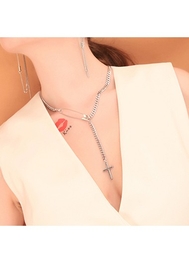 Mother's Day Gifts Cross Shape Silver Metal Chain Necklace for Women - One Size