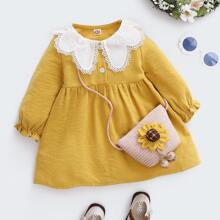 Vestido de pana babydoll ribete con encaje en contraste