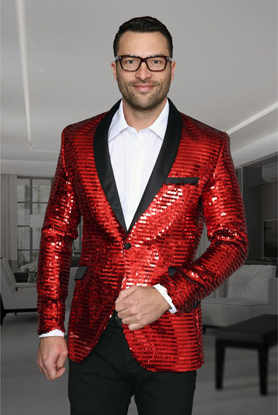 Mens Blazer Slim Fit Red Dinner Jacket Sport Coat Jacket Flashy Stage