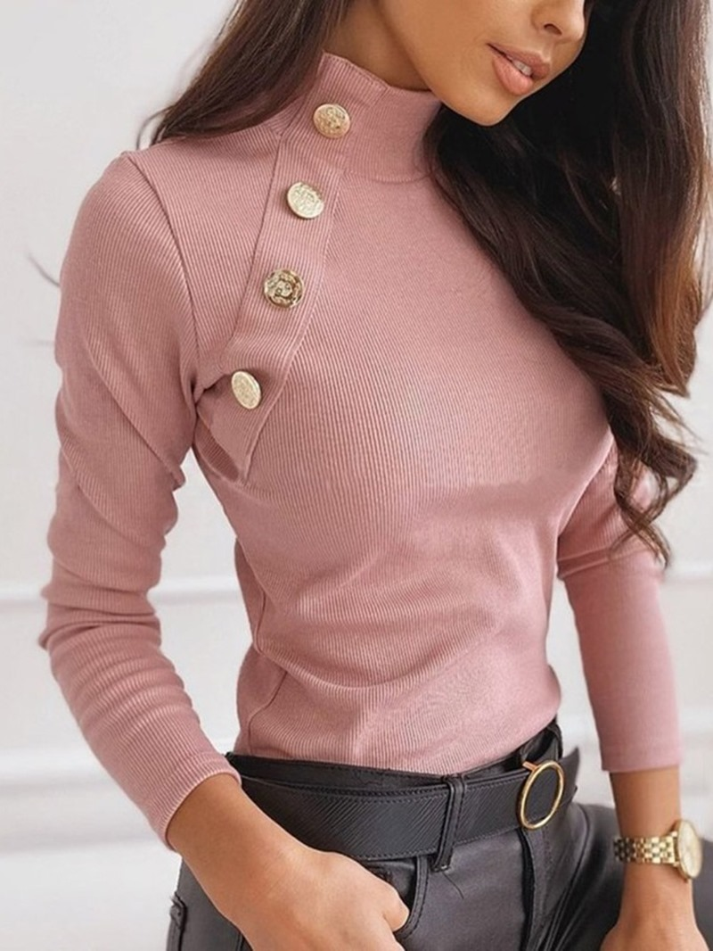 Ericdress Button Regular Slim Standard Turtleneck Sweater