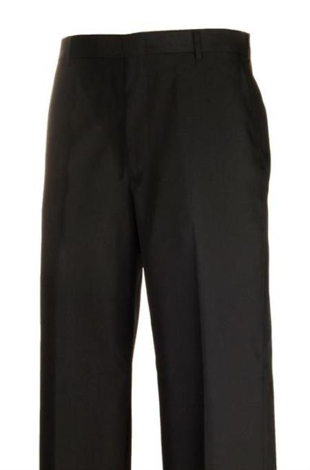 Harwick Clothing Black Separate Flat Front Dress Pants