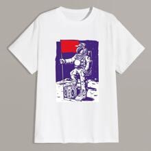 Camiseta de cuello redondo con estampado de figura