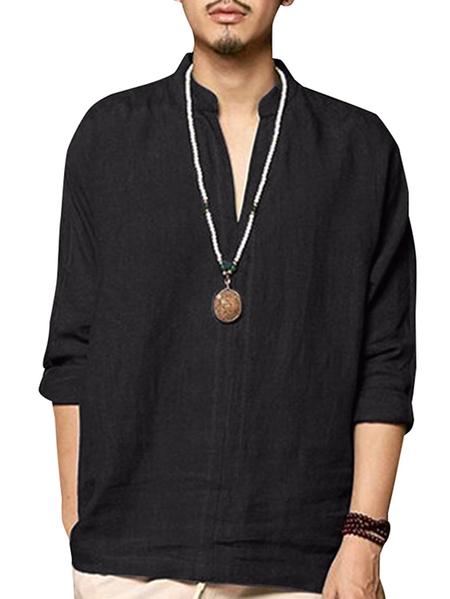 Yoins INCERUN Men Plain V-neck Casual Shirts