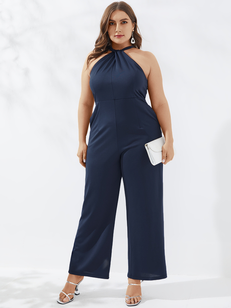 YOINS Plus Size Halter Sleeveless Jumpsuit