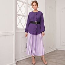 Lantern Sleeve Ruffle Detail Top & Satin Pleated Skirt Set Without Belt