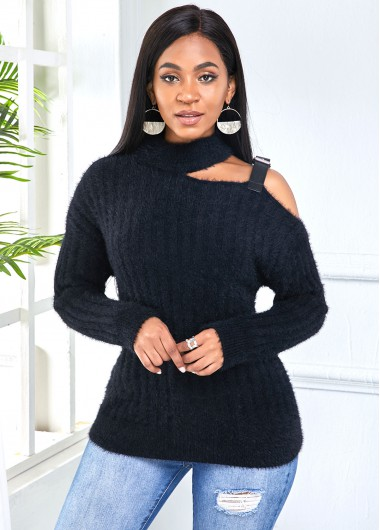 Trendy Long Sleeve One Cold Shoulder Buckle Detail Sweater - M