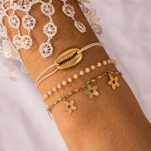 3 Stuecke Armband mit Blumen & Muschel Detail