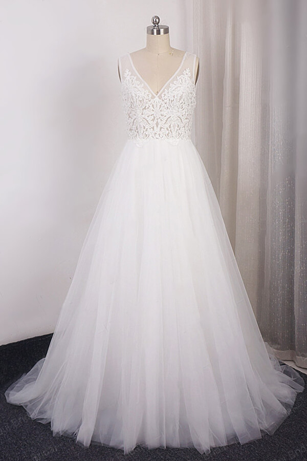 BMbridal Glamorous V-neck Straps Sleeveless Wedding Dress Appliques Tulle A-line Bridal Gowns On Sale