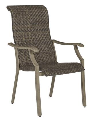 Windon Barn P318-601A Set of 4 Arm Chairs with All-Weather Handwoven Resin Wicker  Rust Free Aluminum Frame and Multi-Step Wood Look Finish in
