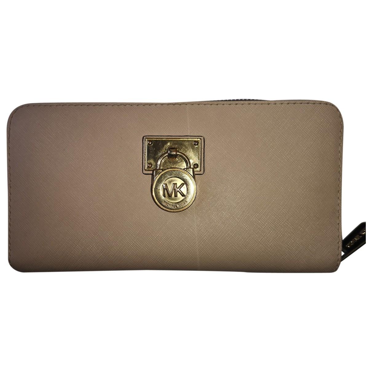 Michael Kors - Portefeuille   pour femme en cuir - beige