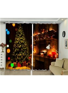 3D Blackout and Dust-proof Decorative Curtains with Cozy Christmas Trees and Fireplace Print