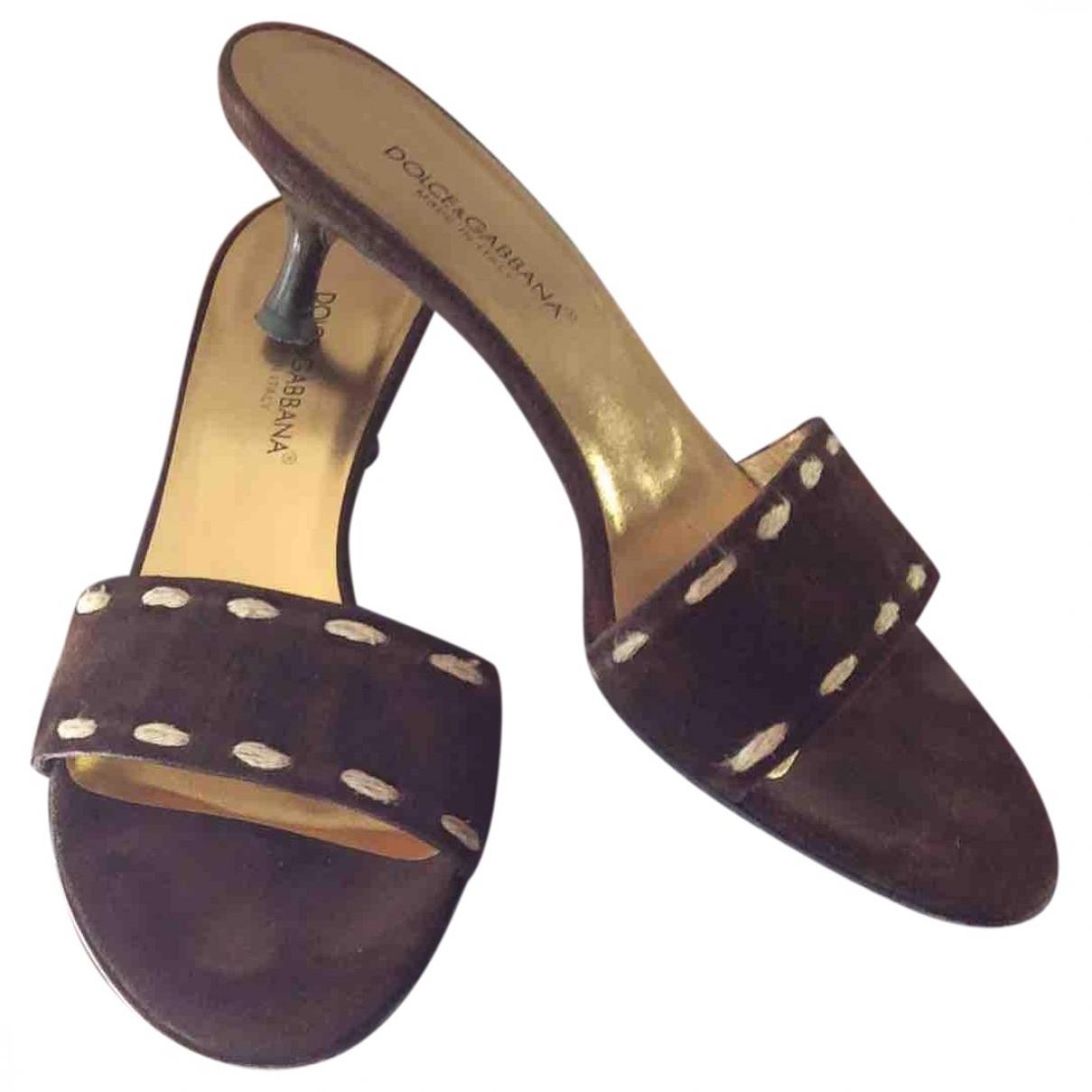 Dolce & Gabbana \N Brown Suede Sandals for Women 37.5 EU