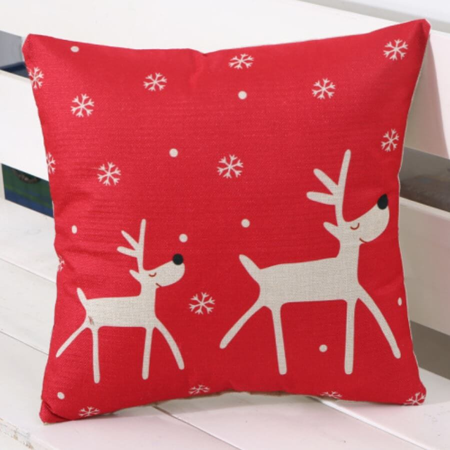 LW Lovely Christmas Day Print Red Decorative Pillow Case