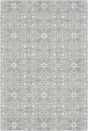 Scott SCT-1008 4' x 6' Rectangle Cottage Rug in Medium Gray