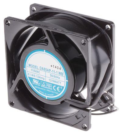 RS PRO , 115 V ac, AC Axial Fan, 80 x 80 x 38mm, 51m³/h, 9W