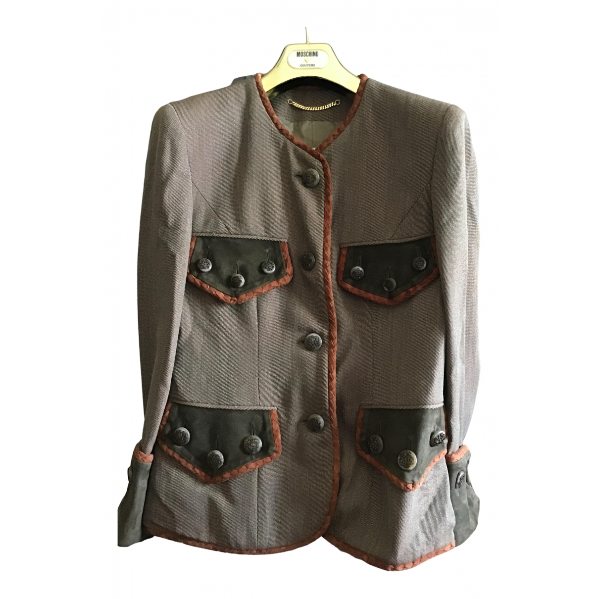 Moschino N Brown Wool jacket for Women 42 IT
