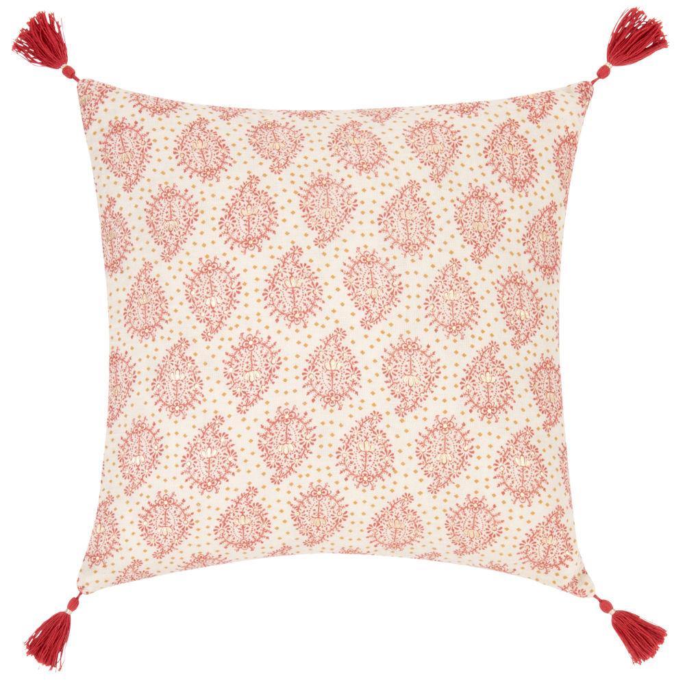 Kissenbezug aus Baumwolle, rosa, mit roten und goldenen Motiven 40x40