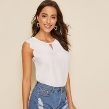 Scalloped Front Cutout Top
