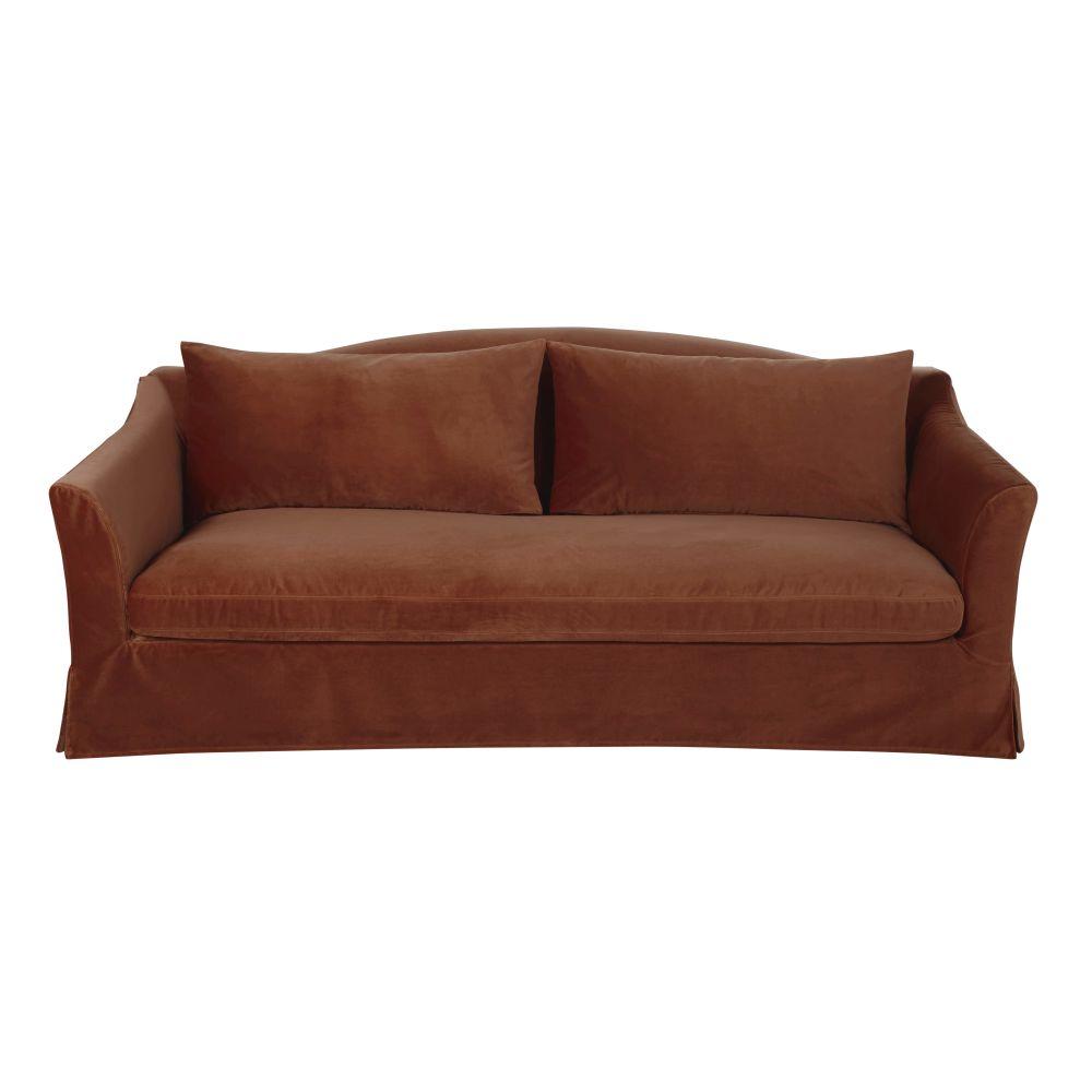 3/4-Sitzer-Sofa mit terrakottafarbenem Samtbezug Anaelle