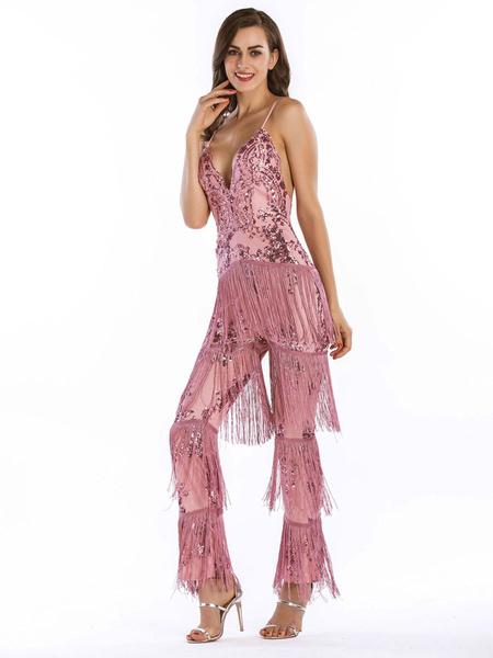 Milanoo Disfraz Halloween Vestidos años 20 Rosa de poliester Charleston disfraz Disfraces Retro con borlas para baile metalica DISFRACES estilo femeni